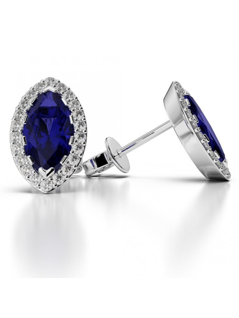 SRI LANKA SAPPHIRE and diamonds 4.50 ct.Studs earrings WG 14k