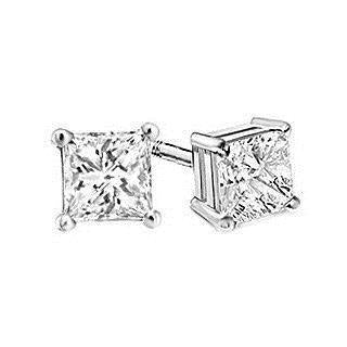 White gold 4 prong set princess solitaire diamond earring 14k