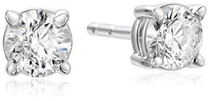white gold 14k 3.5 carats Prong set round stud diamond earring