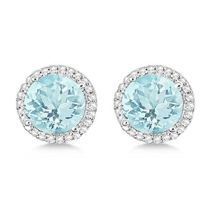 White gold 14k 7.50 carats prong set aquamarine diamond stud earring