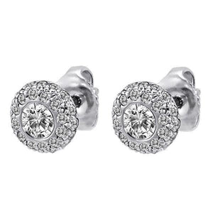 White gold 14k ladies studs earrings 3.70 carats bezel set diamonds