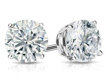 Stud women earring big round CVD white gold diamond 6 ct