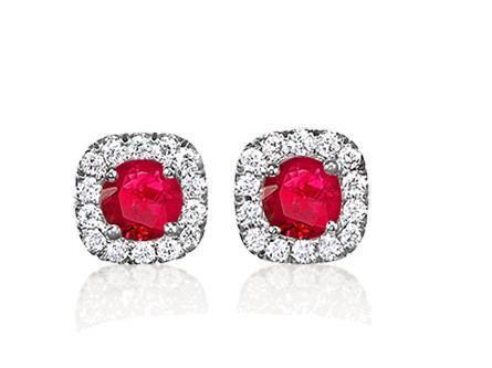 Studs round ruby and diamonds earrings 5.70 carats 14k white gold