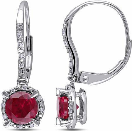 Women 14k white gold red ruby and diamond hoop earring 3.40 carats