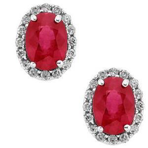 White gold red ruby with round diamond stud earring Oval shape   WG13518