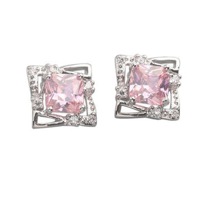 White gold cushion kunzite with diamonds 11.60 CT. Studs earrings