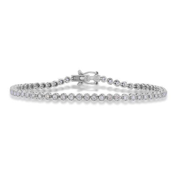 Women tennis bracelet Sparkling diamond white gold 14K 3.5 carats