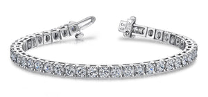 Sparkling white gold  round cut 14.70 ct diamonds tennis bracelet