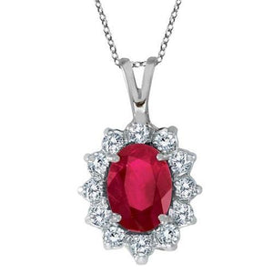white gold Prong set 8.50 carats ruby & diamonds pendant necklace