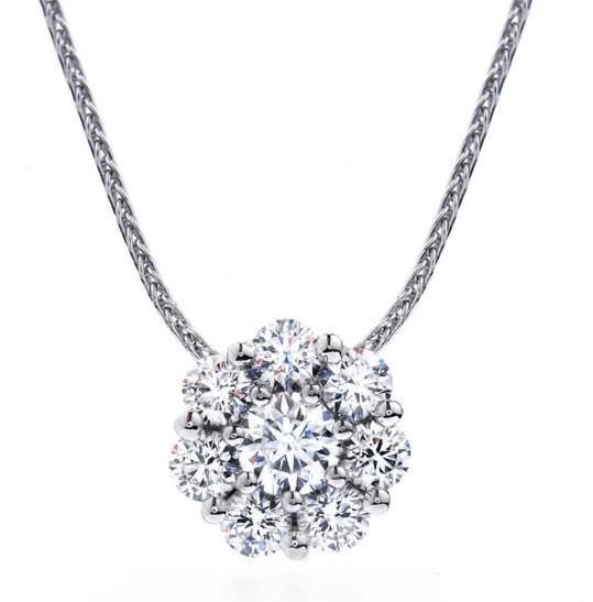 White gold 14k round cut sparkling 3.10 carat diamonds pendant necklace