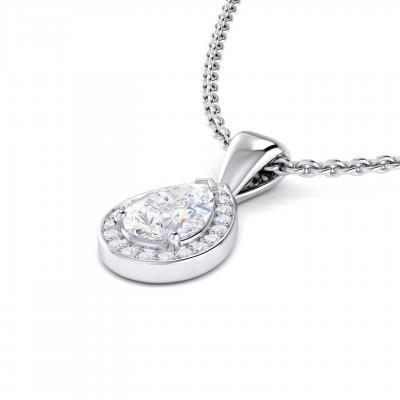 Women jewelry  pear and round shaped diamond necklace pendant 14k white gold