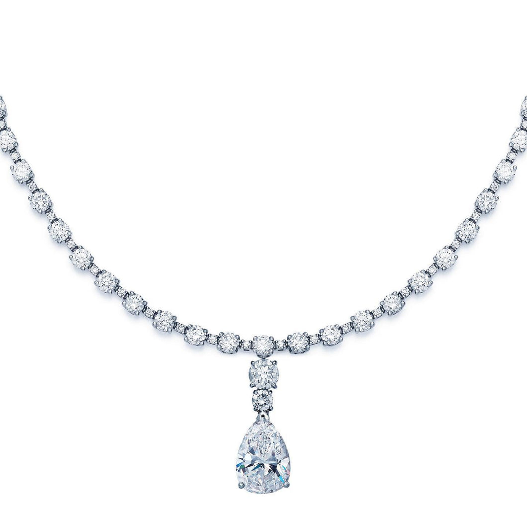 White gold Pear& round diamond necklace pendant women jewelry