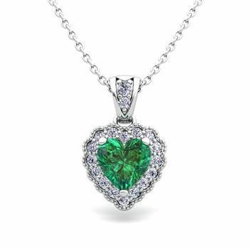 Women white gold 14K prong setting emerald with 2.85 carats diamonds pendant necklace