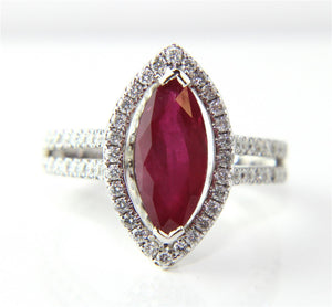 White gold jewelry marquise shape red ruby & diamond wedding ring