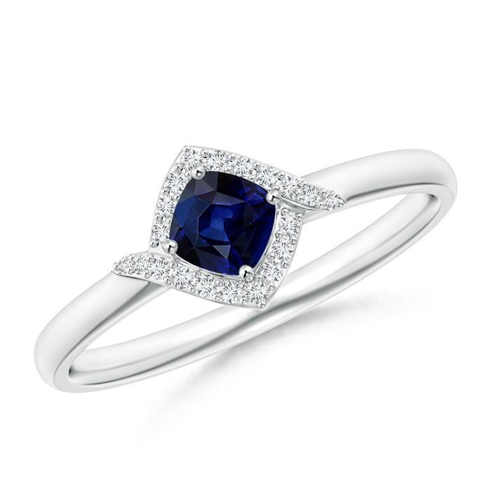 White gold 14k 2.25 Carats CEYLON SAPPHIRE and diamonds Ring
