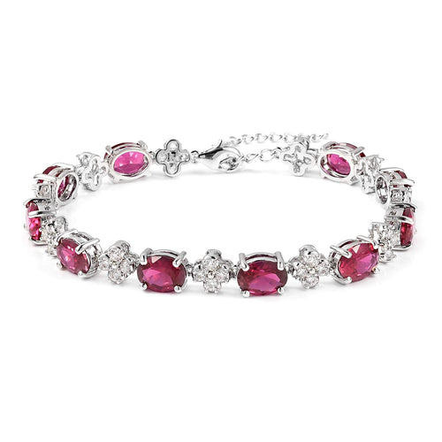 14K White Gold Finish 3.20Ctw Oval Cut Ruby CZ Tennis Bracelet