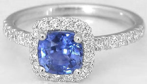 White gold 14k CEYLON SAPPHIRE and diamond 2.00 Carats wedding ring