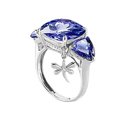 White gold 14K AAA cushion, trillion cut ceylon sapphire & 7.26 carat diamonds ring
