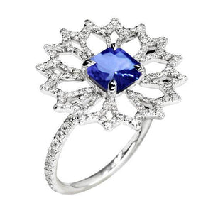 White gold 14K flower style engagement ring cushion & round cut and ceylon sapphire 2.51 carats diamond