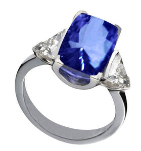 White gold 14K 3 stone cushion & trillion cut and ceylon sapphire 5.01 carat diamond engagement ring