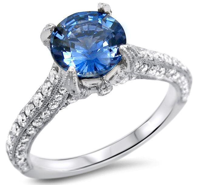 White gold 14K sri lanka sapphire with round cut 4.50 carat diamonds engagement ring