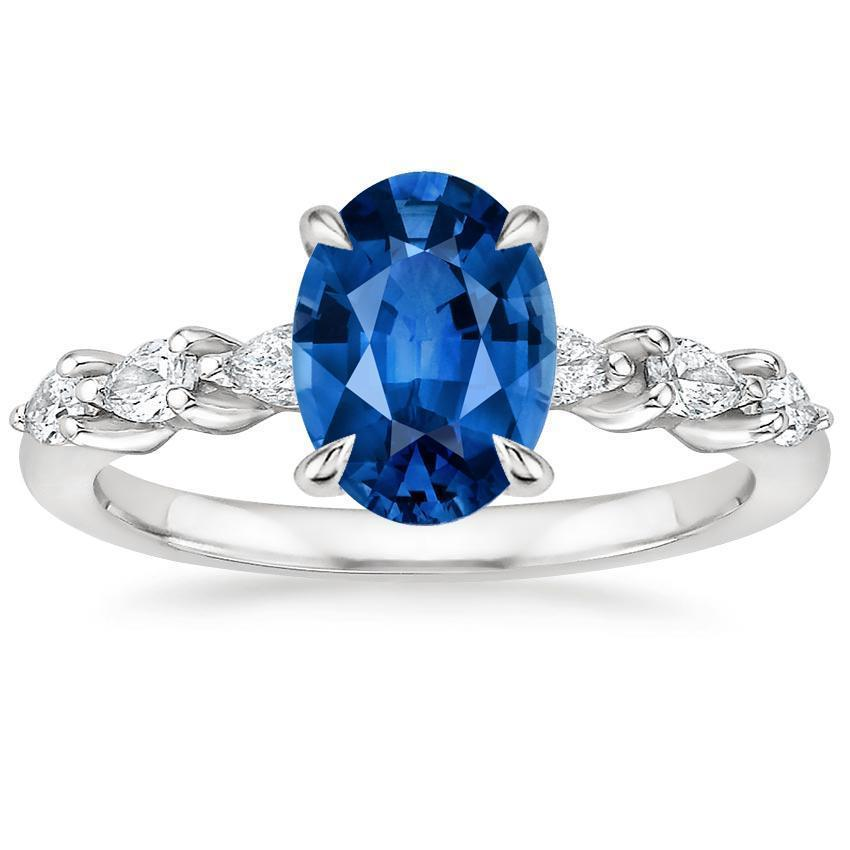 White gold 14k ceylon sapphire and oval & pear cut 2.20 Carats diamond ring