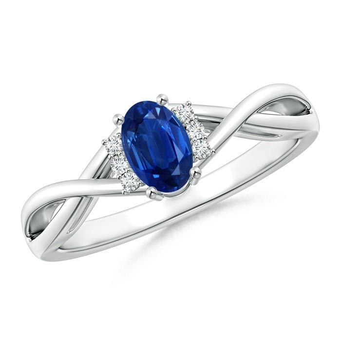 White gold 14K solitaire with accent sri lanka blue sapphire and oval & round cut 1.80 carats diamonds ring