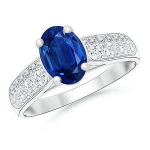 White gold 14K sri lanka blue sapphire and oval & round cut 4.40 carats diamonds engagement ring