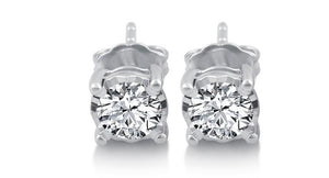 women Studs earrings white gold sparkling round cut 3.80 ct diamonds