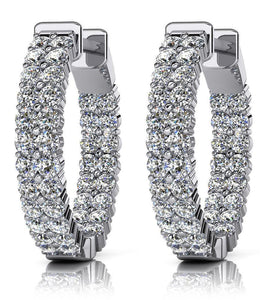 White gold 14k double row inside out round cut and hoop 4.00 carats diamonds earrings