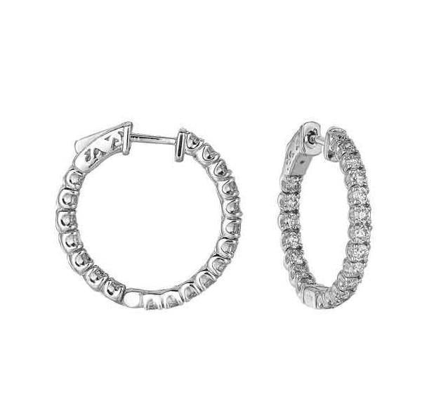 White gold 14K sparkling round hoop & shaped 3.80 carats diamonds lady earrings