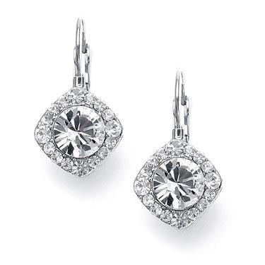 White gold 14k round brilliant shape 3.00 carats diamonds dangle earrings