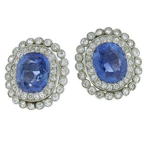 White gold 14k ceylon sapphire with oval & round cut 5.50 carats diamonds ladies Studs earrings