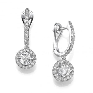 White gold 14k Dangle earrings lady 3.60 carats round cut diamonds
