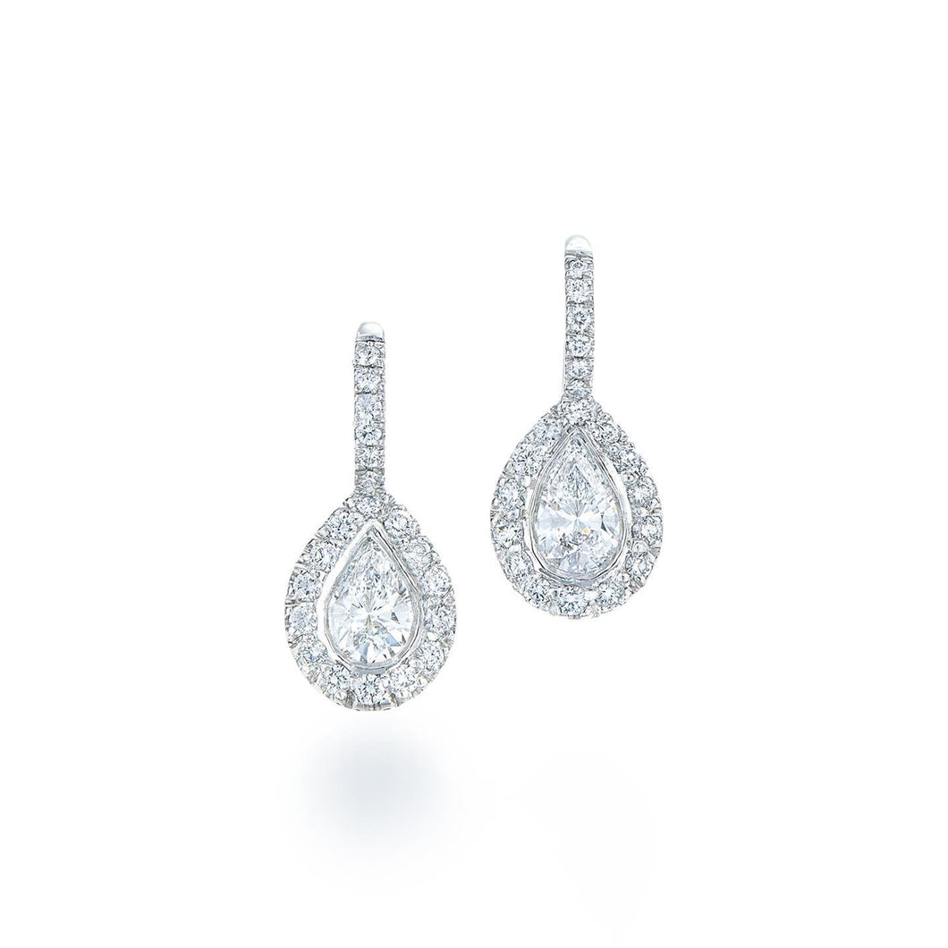 Women Dangle earrings 3.00 carats sparkling diamonds white gold