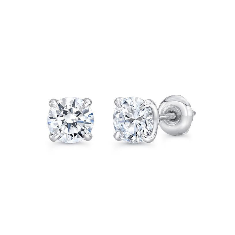 White gold 14k 1.10 carats women stud solitaire diamond earring