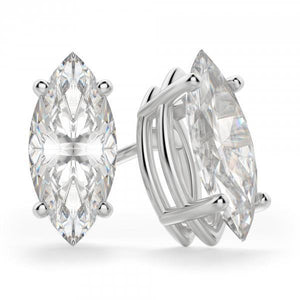 White gold 14K prong setting marquise shape solitaire 4.00 carat diamond stud earring