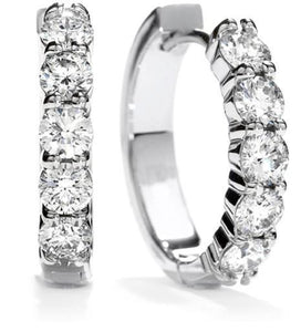 White gold 14k sparkling round cut 3.00 carats diamonds ladies hoop earrings