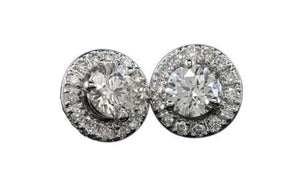 White gold 14K round cut 3.5 carats diamond stud earrings