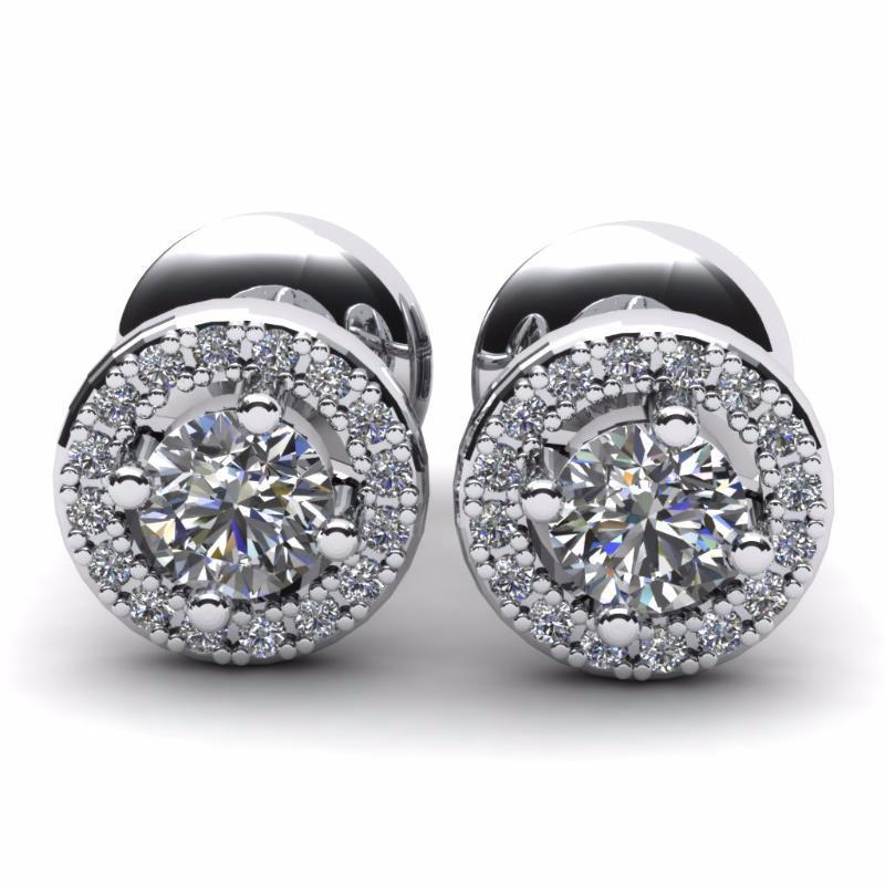 White gold 14k round cut 3.60 carats diamonds stud earrings