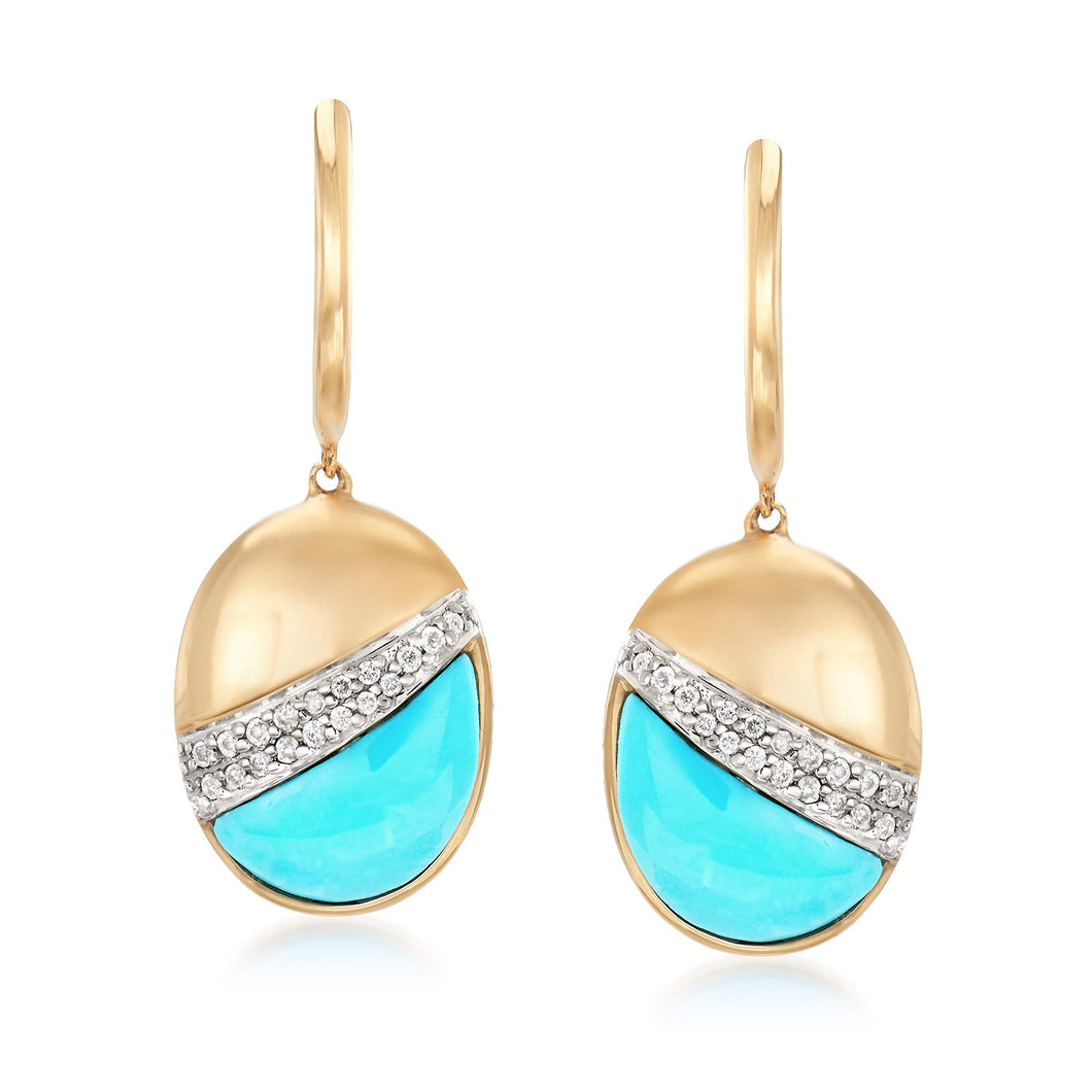 Ross-Simons Stabilized Turquoise and .14 ct. t.w. Diamond Drop Earrings in 14kt Yellow Gold