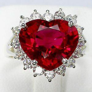 White gold 14K 12.75 Ct heart shaped red ruby diamond wedding ring