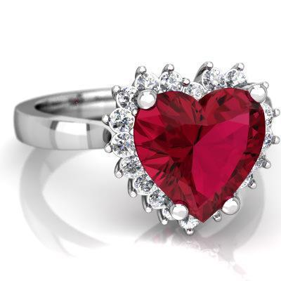 Wedding ring jewelry 14K White gold heart cut red ruby and diamond