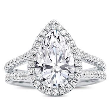 White gold 14K pear and round cut halo 4.00 carats diamond ring