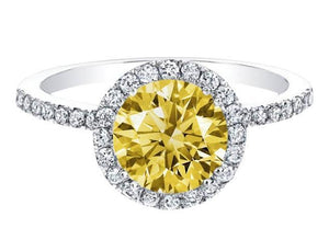 Yellow canary & white round diamond ring white gold 3.51 carats