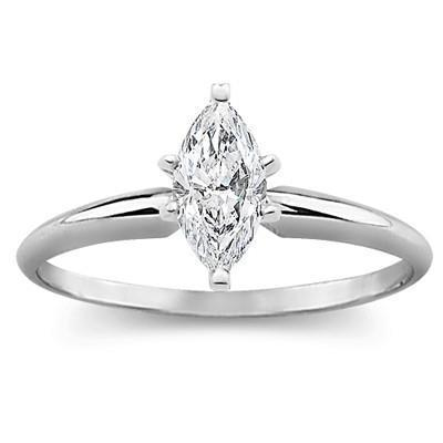 White gold 14k marquise cut solitaire 1.10 carats diamond ring