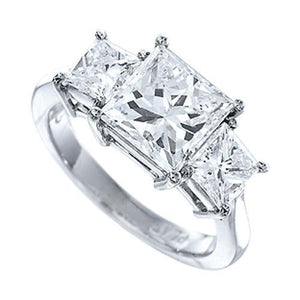 White gold 18K princess cut sparkling 4.00 carat diamond anniversary and wedding ring