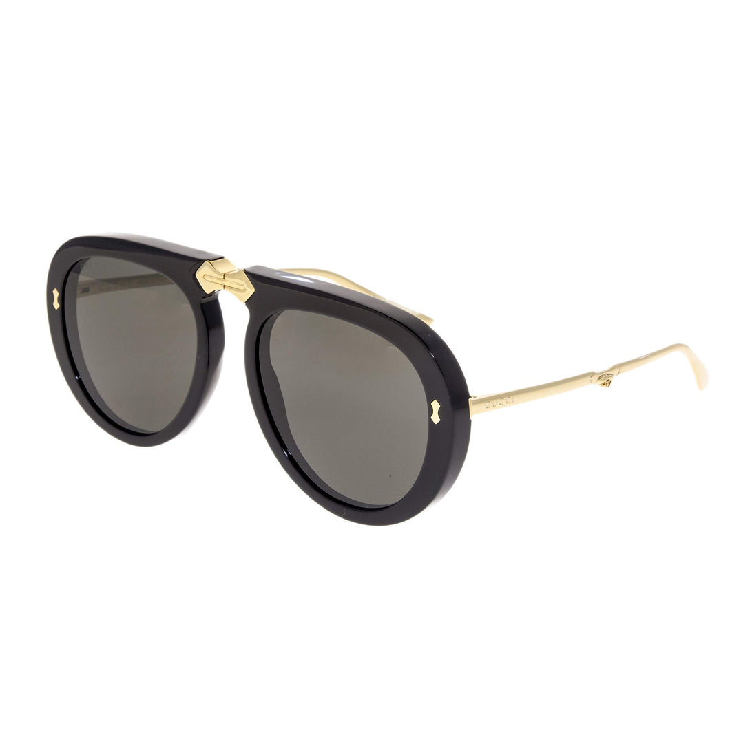 GUCCI 0306 Black Gold Aviator Foldable Sunglasses GG0306S Unisex