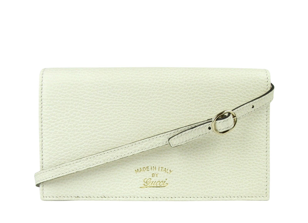 Gucci Swing Creamy White Leather Crossbody Clutch Wallet 368231 9022