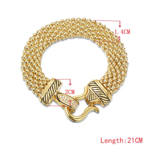 UNY Jewelry Antique Fashion Popcorn Chain Designer Brand Inspired Women Unique Bracelets (Gold)